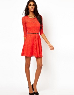Image 4 ofASOS Skater Dress In Lace with 3/4 Sleeves And Belt