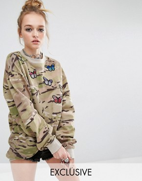 Reclaimed Vintage Oversized Boyfriend Camo Sweatshirt With Butterfly Patches