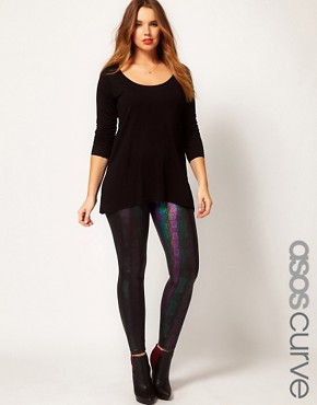Image 1 ofASOS CURVE Leggings In Holographic Print