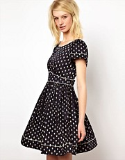 Orla Kiely Cut Out Back Dress in Little Galleon Print Cotton