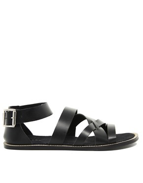 Image 4 ofASOS Multi Strap Leather Sandals