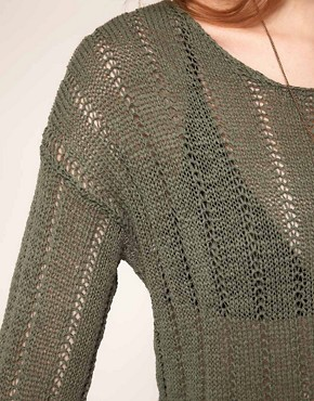 Image 3 ofSelected Benja Knit In Laddered Stitch Detail