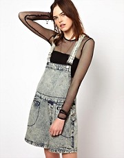 Bitching &amp; Junkfood Denim Dungarees In Acid Wash