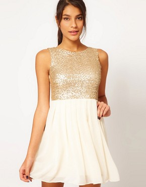 Image 1 ofTFNC Babydoll Dress with Sequin Bodice