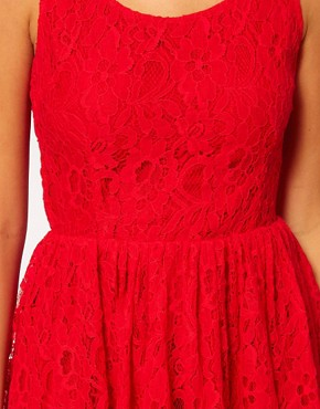Image 3 ofRare Lace Skater Dress With Heart Cut Out Back
