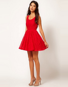 Image 4 ofRare Lace Skater Dress With Heart Cut Out Back