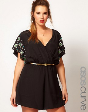 Image 1 ofASOS CURVE Exclusive Playsuit With Flower Jewel Sleeve