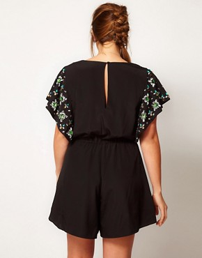 Image 2 ofASOS CURVE Exclusive Playsuit With Flower Jewel Sleeve