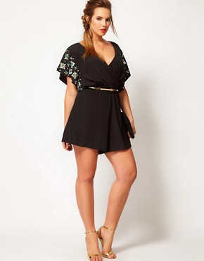 Image 4 ofASOS CURVE Exclusive Playsuit With Flower Jewel Sleeve