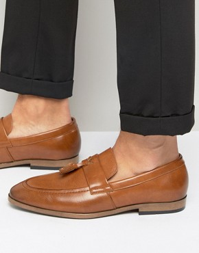 River Island Faux Leather Loafers In Tan