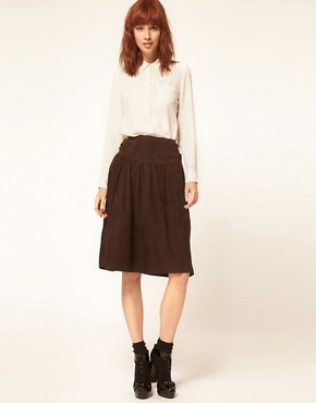 Image 1 ofGanni Suede Full Skirt with Buckle Waist Detail