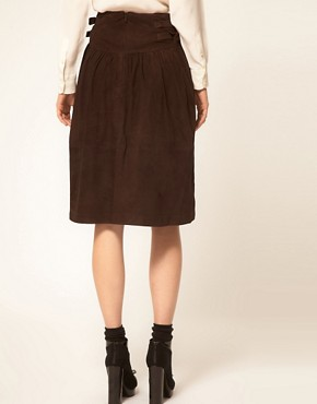 Image 2 ofGanni Suede Full Skirt with Buckle Waist Detail