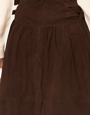 Image 3 ofGanni Suede Full Skirt with Buckle Waist Detail
