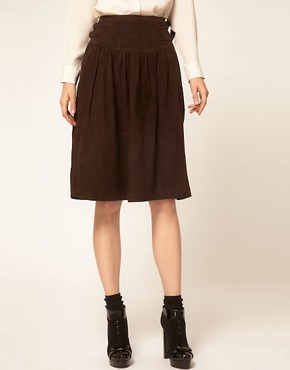 Image 4 ofGanni Suede Full Skirt with Buckle Waist Detail