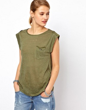 Image 1 ofSelected Alma Linen T Shirt with Woven Trim