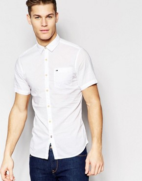 Hilfiger Denim Poplin Shirt In White Short Sleeves
