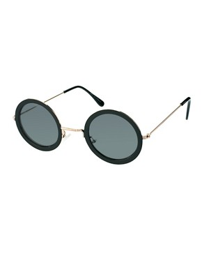 Image 1 ofASOS Black Metal Round Sunglasses