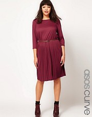 ASOS CURVE Midi Dress with Pleat Skirt