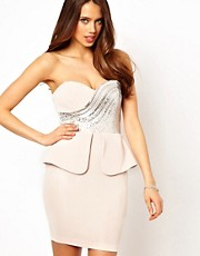 Lipsy Peplum Dress with Sequin Detail