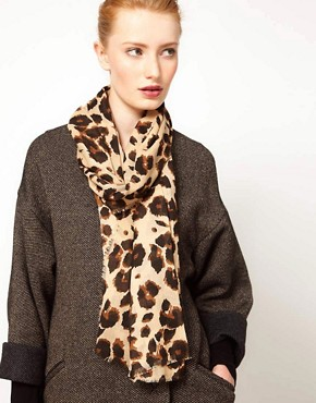 Image 1 of French Connection Leopard Scarf