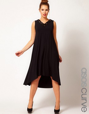 Image 1 ofASOS CURVE Exclusive Swing Dress With Embellishment