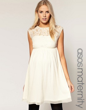 Image 1 of ASOS MATERNITY Lace Skater Dress