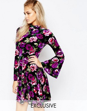 Boohoo Velvet Rose Print Swing Dress