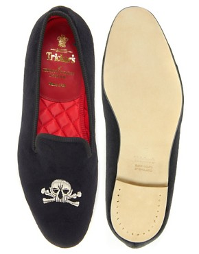 Image 3 of Trickers Churchill Embroidered Dress Slippers