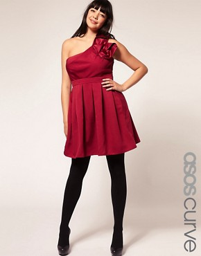 Image 1 ofASOS Curve Exclusive Cocktail Dress With Corsage Shoulder