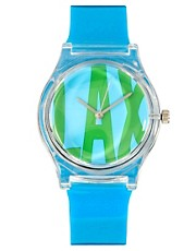 Reloj con hebilla de plstico brillante en color azul LAX de MAY28TH