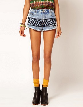 Image 4 ofASOS Vintage Denim Shorts with Embroidered Tribal Design