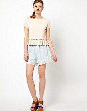 Ganni Silk Lace Trimmed Shorts