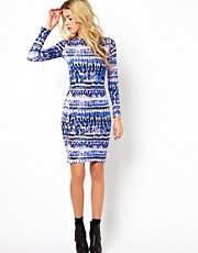 Glamorous Midi Dress In Abstract Tribal Print