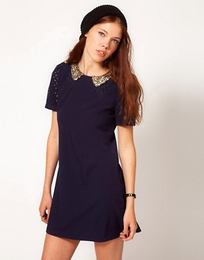 Image 1 ofDahlia Shift Dress With Sequin Collar And Cutwork Detail