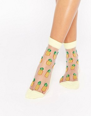 ASOS Sheer Pineapple Ankle Socks