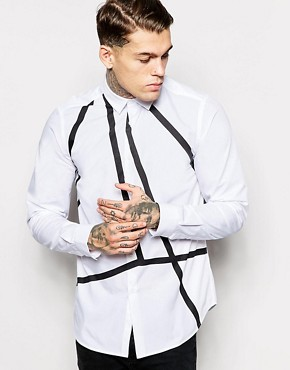 ASOS WHITE Shirt In Long Sleeve With Angular Print
