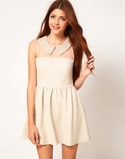 Darling Embellished Pearl Collar Skater Dress