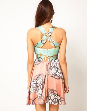 Image 2 ofRare Scarf Print Twist Dress