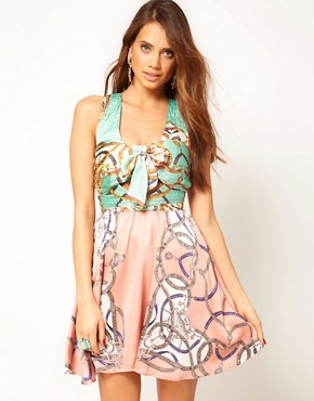 Image 1 ofRare Scarf Print Twist Dress