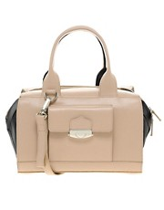 ASOS Leather Bowler Bag With Push Lock