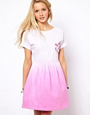 ASOS Skater Dress In Dip Dye With Floral Pocket