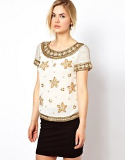 Frock and Frill Beaded Top with Floral Detail