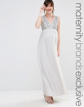 Maya Maternity Embellished Bodice Plunge Maxi Dress