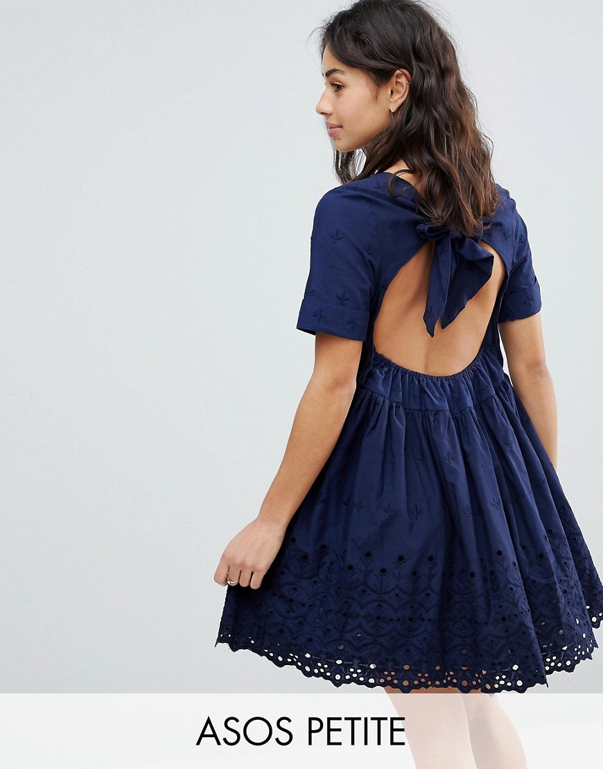 ASOS PETITE Broderie Smock Dress with Open Back Detail - Navy