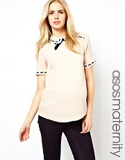 ASOS Maternity Blouse With Ribbon Detail And Contrast Bow
