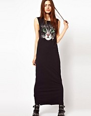 ASOS Maxi Dress In Acid Wash With Cat Face