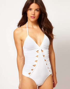 Image 1 ofSeventh Wonderland Arabella V Neck One Piece With Key Hole Detail