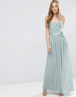 ASOS WEDDING Chiffon Bandeau Maxi Dress with Detachable Corsage