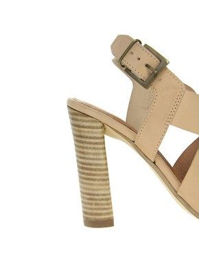 Image 3 ofASOS HEART Leather Heeled Sandals with Cross Straps