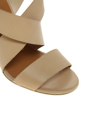 Image 4 ofASOS HEART Leather Heeled Sandals with Cross Straps